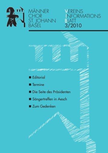 Ausgabe 3/2010 - Männerchor St. Johann Basel