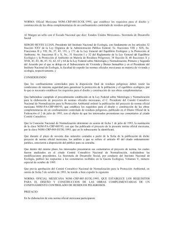 NORMA Oficial Mexicana NOM-CRP-005-ECOL/1993, que ...