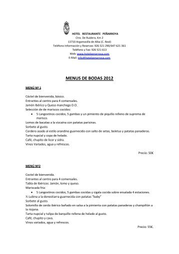 MENUS DE BODAS 2012 - HOTEL RESTAURANTE PENARROYA