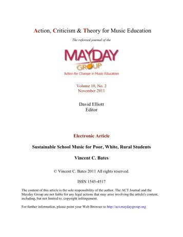 Vincent C. Bates - ACT Journal - MayDay Group