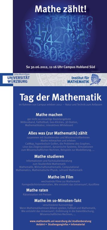 Mathe zählt! Tag der Mathematik - Studienberatung Mathematik