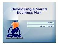 Developing a Sound Business Plan - Indonesia Kreatif