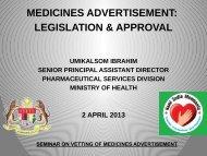 legislation & approval - Bahagian Perkhidmatan Farmasi