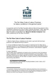 The Fair Wear Code of Labour Practices for labour ... - Mammut