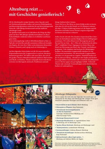 buchbare Bausteinprogramme - Altenburg Tourismus