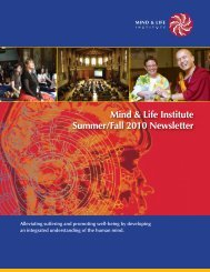 Mind & Life Institute Summer/Fall 2010 Newsletter