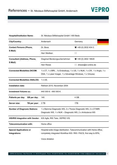References – St. Nikolaus-Stiftshospital GmbH, Andernach - Vepro