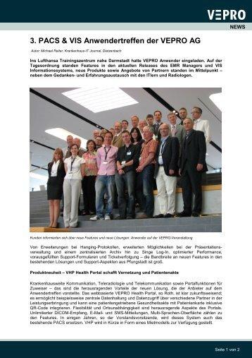 3. PACS & VIS Anwendertreffen der VEPRO AG