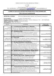 Calendario del corso - ISIS Via Ivon de Begnac