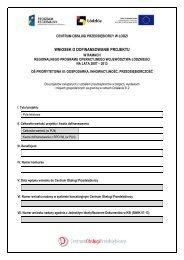 wniosek o dofinansowanie projektu - Centrum Obsługi Przedsiębiorcy