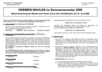 GREMIEN-WAHLEN im Sommersemester 2009 - ZUV