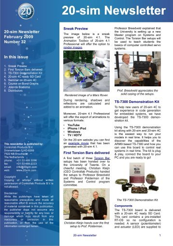 20-sim Newsletter February 2009 Number 32 In this issue