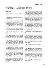 ZINĀTNES DZĪVES HRONIKA - Latvijas Zinātņu Akadēmija