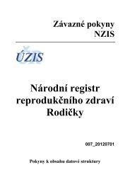 Národní registr rodiček (verze 007-20120701) - Aktuální - ÚZIS ČR