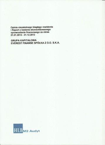 Opinia niezależnego biegłego rewidenta ā Raport z badania ...