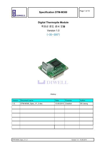 Specification DTM-M300 Digital Thermopile Module 적외선 온도 ...