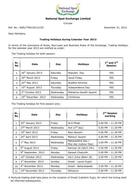 NSEL Trading Holidays 2013 - Rrfinance.com