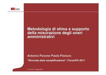 Metodologia di stima a supporto della misurazione degli oneri ...