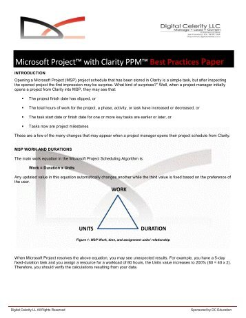 Microsoft Project with Clarity PPM, Best Practices ... - Digital Celerity
