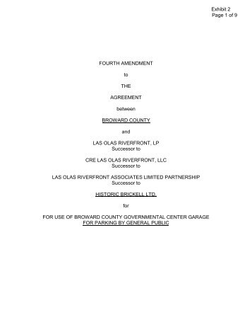 FOURTH AMENDMENT to THE AGREEMENT between BROWARD ...