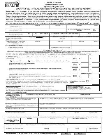 Estado de Florida Departamento de Salud Oficina del Registro Civil ...