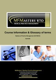Course Information & Glossary of terms - McMasters Training Pty Ltd