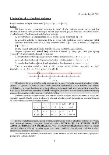 Lineární rovnice s absolutní hodnotou - Jaroslav Reichl