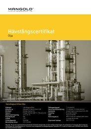 hävstångscertifikat olja - Mangold Fondkommission