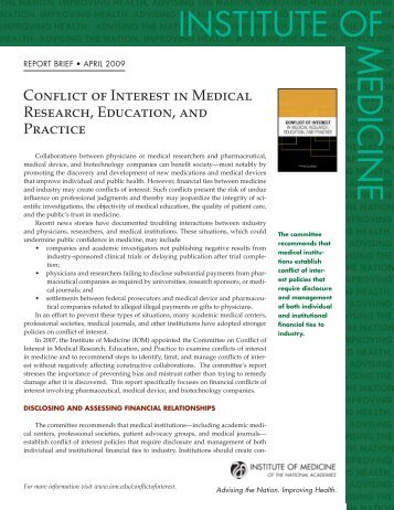 Conflict of Interest in Medical Research, Education - Institute of ...