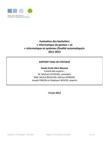 RFS Informatique HELMo - Agence pour l'Evaluation de la Qualité ...
