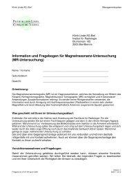 Patienteninformation und Fragebogen für MR ... - Klinik Linde