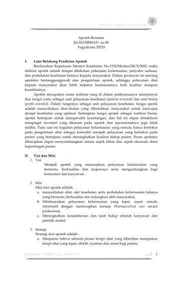 Apotek Bersama Jln.SUDIRMAN no 40 Yogyakarta 55233 I. Latar ...