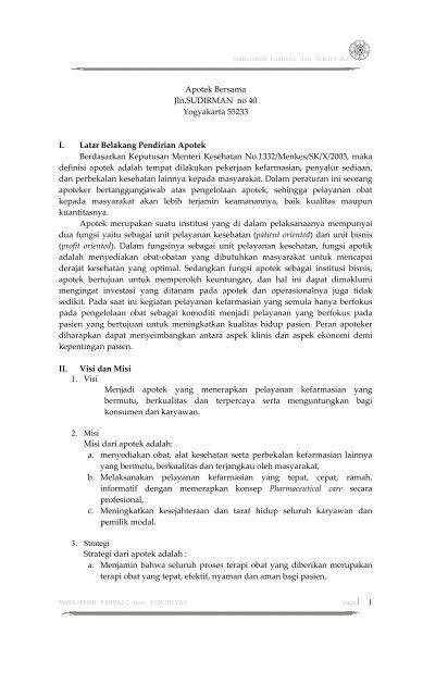 Apotek Bersama Jlnsudirman No 40 Yogyakarta 55233 I Latar