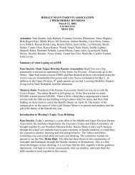 Minutes from the PA Meeting on 03/12/03 - Horace Mann School