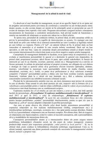 Sorin Negruţi - Facultatea de Management