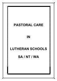 pastoral care - Lutheran Schools Association - Lutheran Education ...