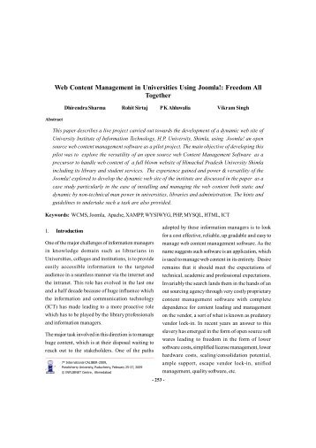 Web Content Management in Universities Using Joomla!: Freedom All