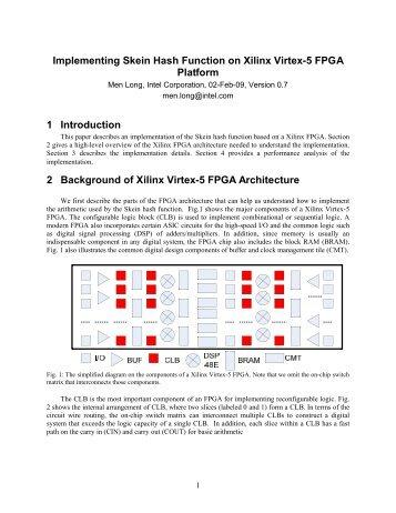 Implementing Skein Hash Function on Xilinx Virtex-5 FPGA Platform ...