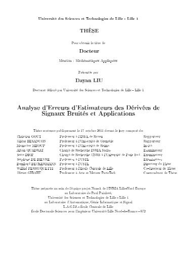 Analyse d'Erreurs d'Estimateurs des Dérivées de Signaux Bruités et ...