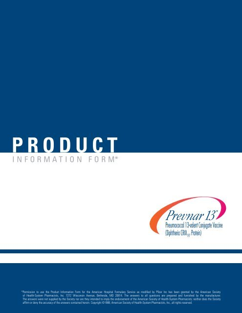 PRODUCT INFORMATION FORM - PfizerPro