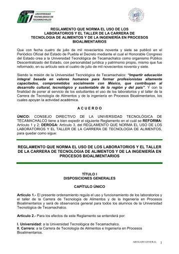 reglamento que norma el uso de los laboratorios y el taller de la ...