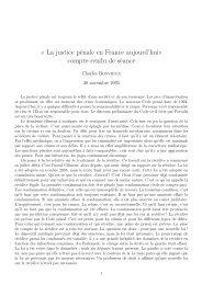 « La justice pénale en France aujourd'hui» compte-rendu de séance