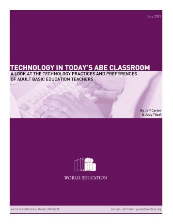 Technology in Today's ABE Classroom - Adult Literacy and ...