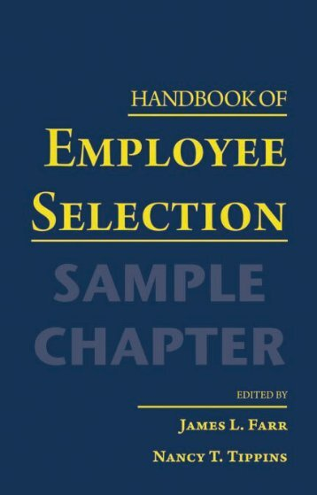 Handbook of Employee Selection - Routledge