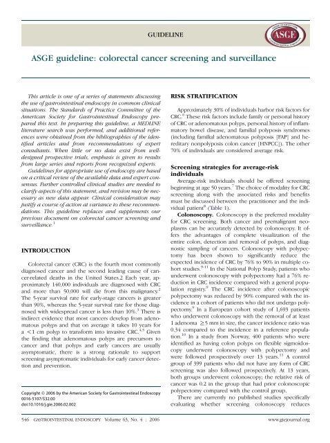 Asge Guideline Colorectal Cancer Screening And Surveillance