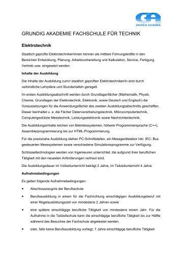 Elektrotechnik - Grundig Akademie