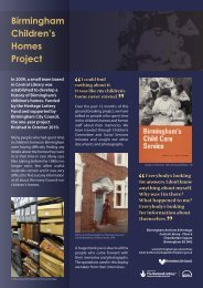 Birmingham Children's Homes Project - Connecting Histories