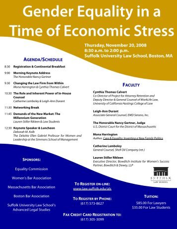 Gender Equality in a Time of Economic Stress - Boston Bar ...