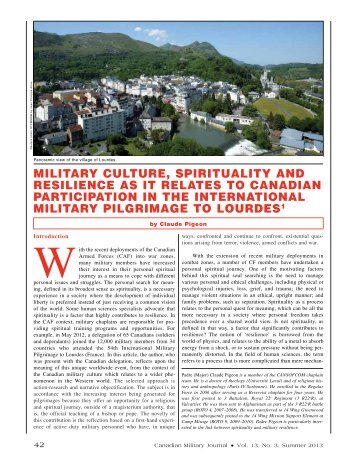 MiliTAry CUlTUrE, SpiriTUAliTy AND rESiliENCE AS iT rElATES TO ...