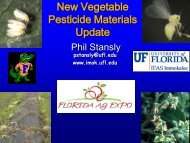New Vegetable Pesticide Materials Update - Florida Ag Expo ...
